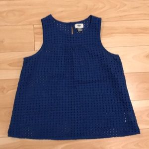 Blue Tank Top with Cut Outs
